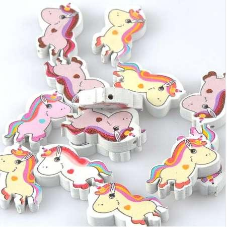 best selling Mix Unicorn Licorne Pattern Wooden Spacer Beads For Jewelry making DIY 20pcs 30x18mm MT2025X