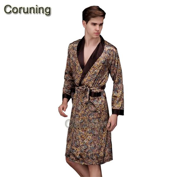 1429 2017 primavera verão outono novo luxo impressão robe de seda masculino roupão de banho dos homens quimono roupão de banho mens roupões de seda roupões