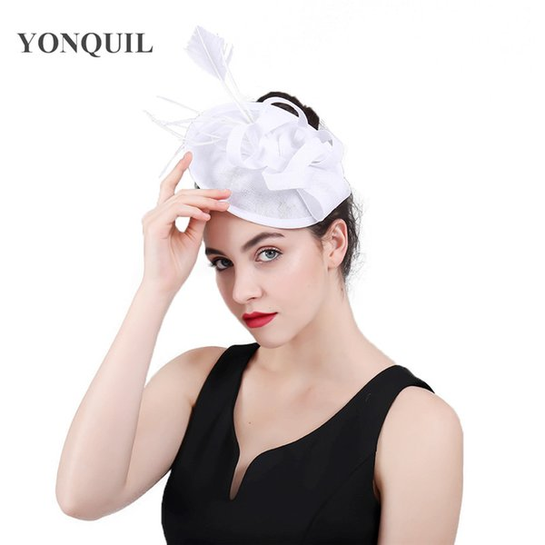 top brands buy cheap the best 2019 Vintage White Black Elegant Wedding Bridal Hat Fascinator Flower  Womens Holiday Feather Ladies Hats And Fascinators With Hairpin SYF418 From  ...