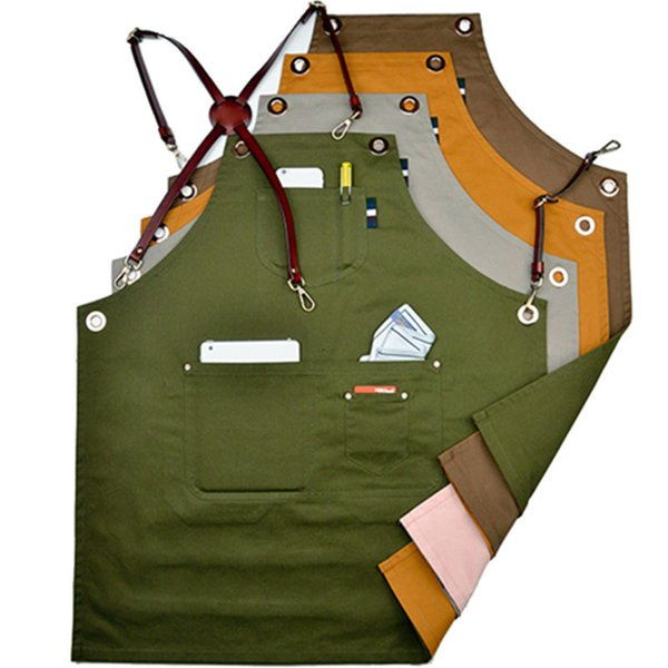 Double Sides Coon Bib Apron Leather Strap Barista Cafe Bartender Chef Uniform Florist Barber Salon Taoo Artist Work Wear K69
