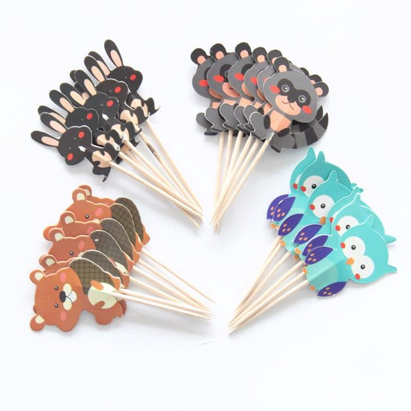 24 pcs/lot Owl/Rabbit/Bear Cupcake Topper Cartoon Party Supplies Kids Boy Birthday Party Decorations Cake topper Picks