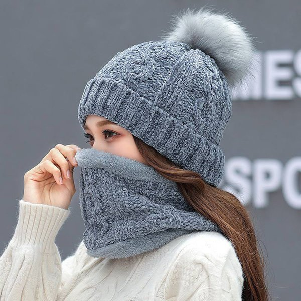 757b32a237cbb 2Pcs Women Winter Warm Knitted Venonat Beanie Hat+Scarf Keep Warm Set  bonnet femme hiver