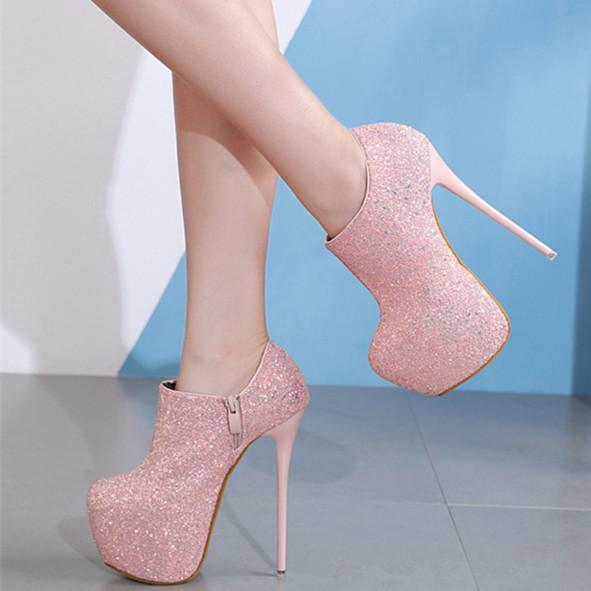 16cm Luxury black pink prom gown dress shoes glitter sequins ultra high heels platform ankle bootie shoes size 34 to 40