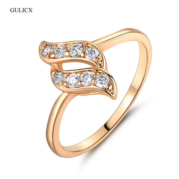 Kadınlar Yılan Yuvarlak Beyaz Avusturya Kristal Zirkonyum Düğün Takı R020 için parmak yüzük GULICX Moda Altın renkli Twisted parmak Yüzük