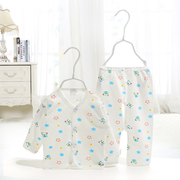 2018 Newborn Baby Clothing Underwear Tops And Pants 2Pcs Boy Girl Warm Sets High Quality Cotton Cartoon Gowns Button Infant Clothes For 0-3M