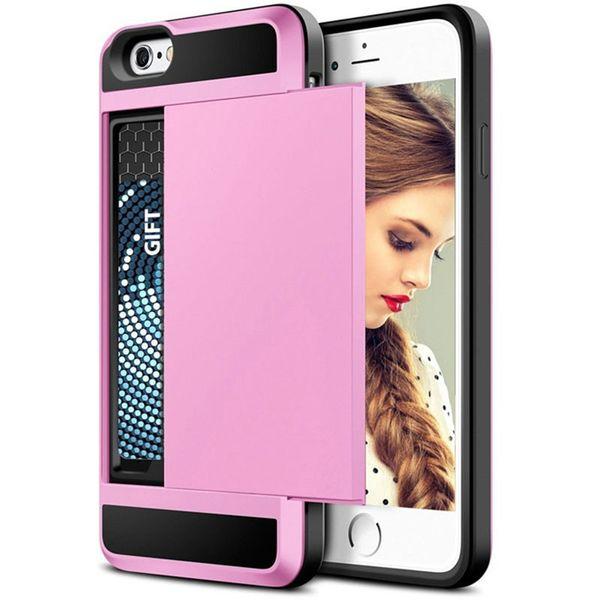 New Arrival For iphone 8 plus case muliti color options Sliding card slot mobile case shockproof hybrid tpu+pc phone case