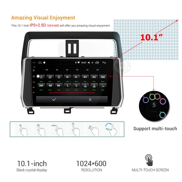 """10.1"""" IPS 2.5D Touch Screen Android 8.0 Car DVD Radio Video Multimedia Player for Toyota PRADO 2018 Stereo GPS Navigation USB"""