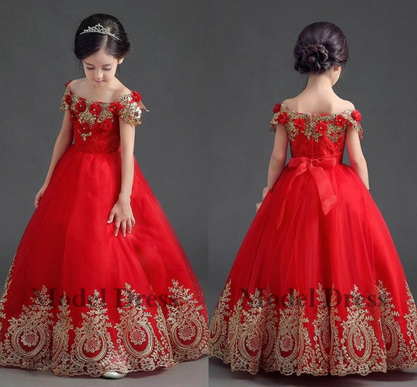 Compre Vestido De Bola Vestidos Rojos Para Niñas Vestidos De Flores De Encaje 3d Flores Hanmade Apliques Alegres Vestidos Cortos Para Niñas De Manga