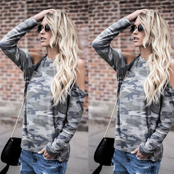 Fashion Women Sexy Ladies Long Sleeve Hole Cold Shoulder Camouflage Cotton Shirt Casual Tops Loose T Shirt Summer Autumn