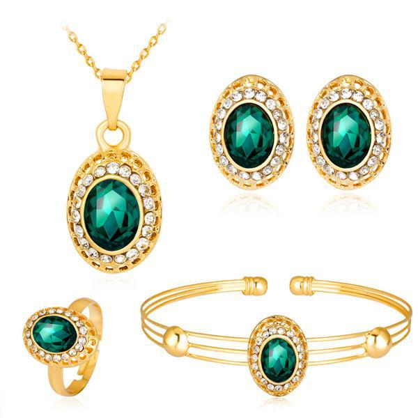 Anelli dell'orecchino del braccialetto della collana dell'oro placcato placcato oro 18K Anelli 4 in 1 Insiemi dei monili Monili di cristallo di nozze