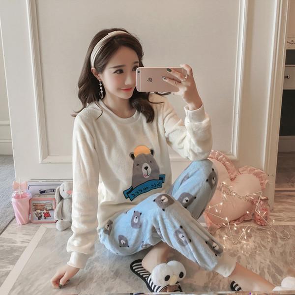 36933255f6 Invierno Mujer Pijama Poliéster Pantalones Llenos de Dama Conjunto de Pijama  de Dos Piezas Oso de