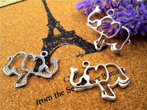45Pcs Elephant charms--Antiqued Tibetan silver Elephant Charms/Pendants 31x24mm