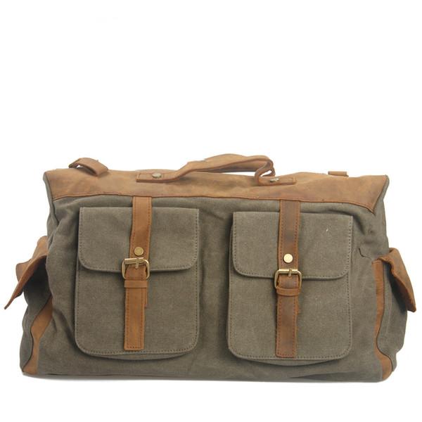 Vintage Canvas Men Messenger Bags Leather Cowhide Men's Handbag Casual Crossbody Bags Briefcase Traveling Large Tote