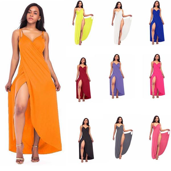 Beach Bandage Solid Dress V-Neck Bikini Wrap Cover Up Backless Long Maxi Tunic Dress Loose Casual Sexy Sleeveless skirt LJJG633 10pcs