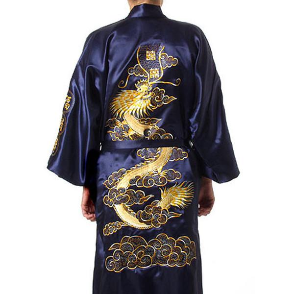Bordado tradicional Dragão Kimono Yukata Vestido De Banho Azul Marinho Homens Chineses De Seda De Cetim Robe Casuais Desgaste Da Casa Masculina Camisola