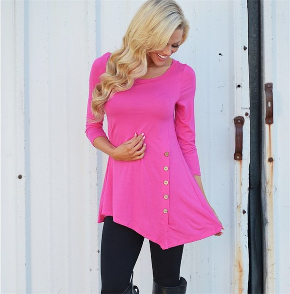 S-6XL Women Sweatshirt Irregular Long Sleeve Side Buttons Tee Blouse Round Neck Tops Pullover Christmas Shirts For Girls Plus size