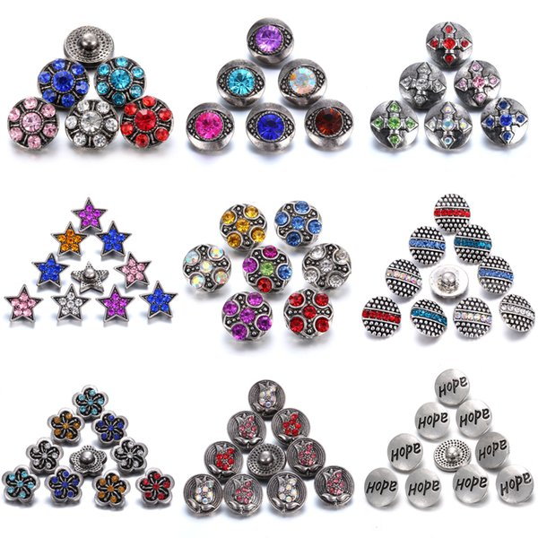 Interchangeable Jewelry Crystal Flower Mini 12mm Metal Snap Button Noosa Chunks Ginger Charms 12mm Snap Bracelet Button Jewelry