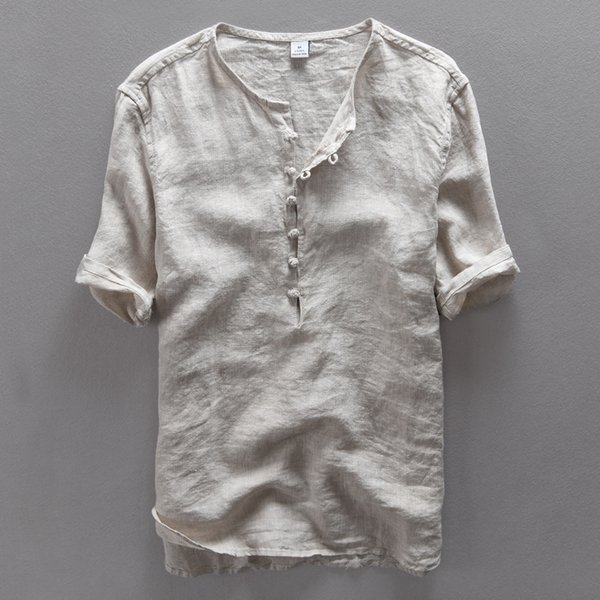 Italy brand simple fashion men shirt casual linen shirt men solid flax breathable summer mens clothing Camisa masculina