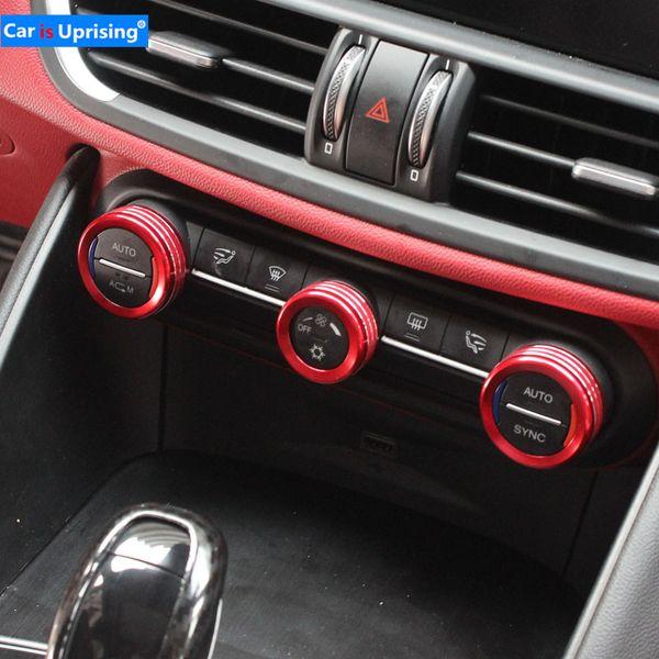 Chorme Air Condition Volume Knob Trim Cover Sticker For Alfa Romeo Giulia 2017