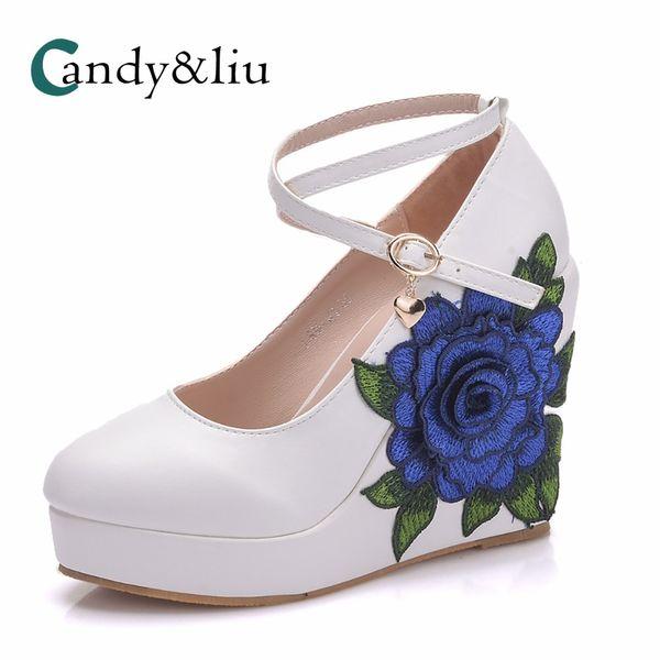 Weißer Keilabsatz Damen Pumps Spitz High Heels mit Plateau und Knöchelriemen für Party Bankett Abendkleid