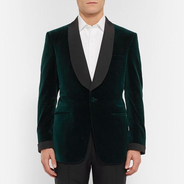 Dark Green Groomsmen Shawl Lapel Cool One Button(Jacket+Pants+Tie) Groom Tuxedos Groomsmen Best Man Suit Mens Wedding Suits Bridegroom