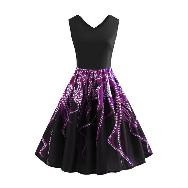 75e38f61cfe 2018 Audrey Hepburn Vintage Summer Dress Women Trumpet Octopus Print V-Neck  Sleeveless Patchwork Elegant Retro Ladies Dresses