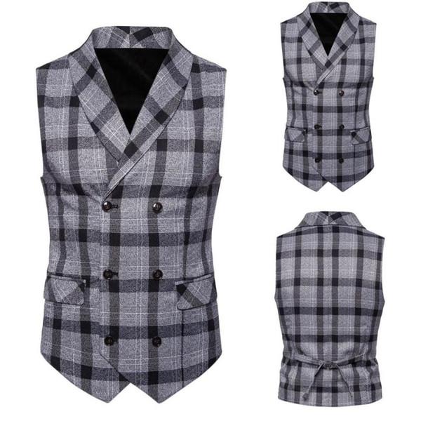 WOMAIL Suit Vests For Men Vintage Plaid Button Casual Print Sleeveless Plus Size Coat British Suit Vest Formal Mens 18Aug13
