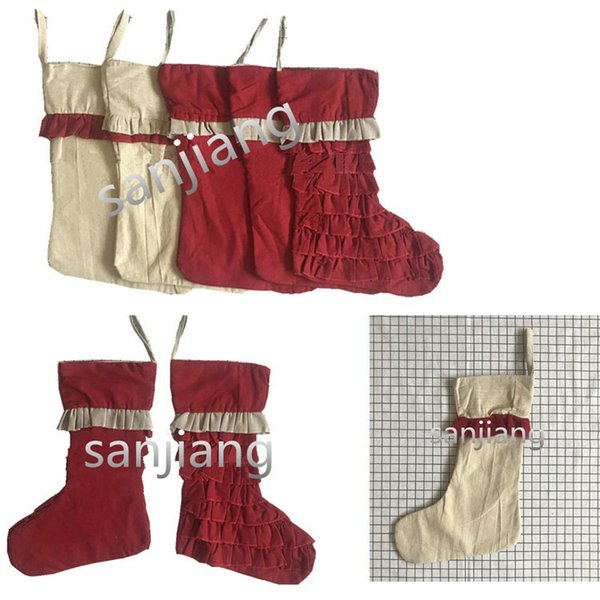 Christmas Stocking Lace Falbala Stocks Merry Christmas kids gift Candy Sock Bags Halloween Xmas Decorations Ornaments Stocking for kids Best