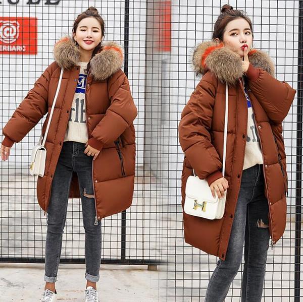 Fashion Women Jacket Long Hooded Parkas Thickness Fur Collar Duck Down Coat Female Snow Outerwear Plus Size XXXL 7 Colors