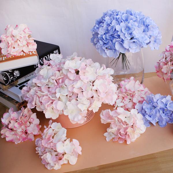 10 teile / los Luxus Bunte Künstliche Seide Hortensien Kopf Dekoration DIY Hochzeit Blume Wandkranz Zubehör