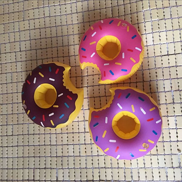 Inflatable Donut Coasters Drink Holder Lovely Donut Swim Float Pool Floating For 12 oz Sodas at Your Beach Party 3 COLORS
