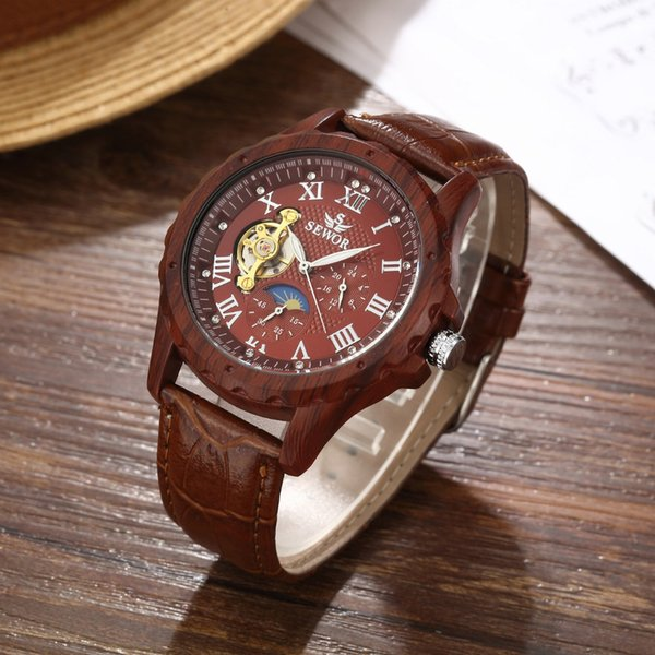 SEWOR Mechanical Watch Men Skeleton Leather Automatic Self Wind Watch Fashion Casual Man Moon Phase Wristwatches SWQ41-201703