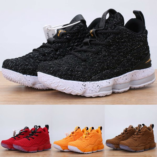 size 40 4c044 b1ac1 Kids Basketball Shoes Ashes Ghost LeBron 15 Red Black Lebrons Boys Training  Arrival Sports Sneakers 15s Trainer Shoe James Eur 25 35 Trail Running ...