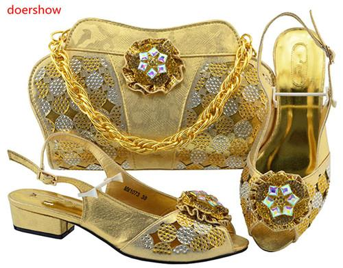 New Arrival Italian Ladies Shoes and Bag Set Decorated with Rhinestone African Wedding Shoes and Bag Set Shoes and Bags To Match MBF1-40