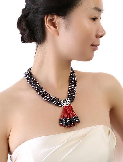 Three-Strand 6.5-7.5mm Collana in corallo rosso naturale nero perla d'acqua dolce 19 19 20inch