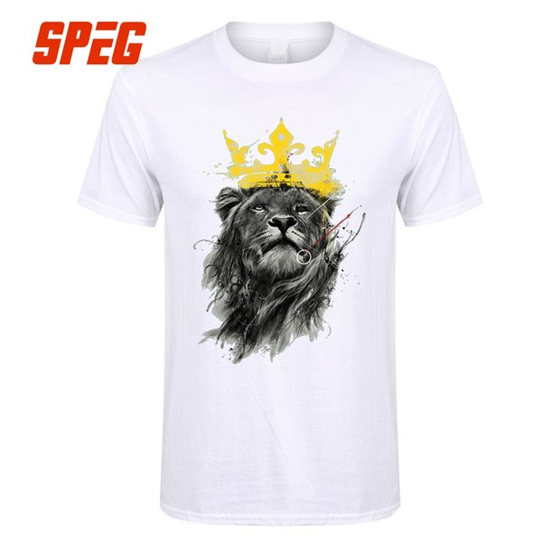 Tops Tees Novelty Men King Of The Jungle Lion With Crown Animal Youth Cotton Short T Shirt Create Male Men's T Shirts