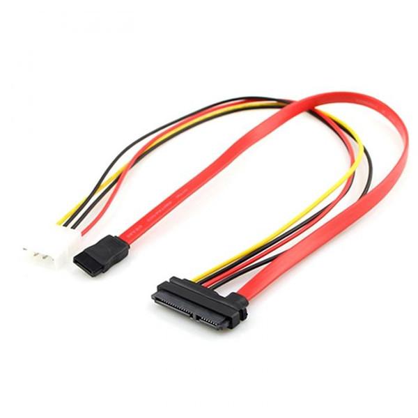 SATA 22Pin Combo to 15 Pin Power + 7 Pin Data Cable 4 Pin Molex to Serial ATA Lead QJY99