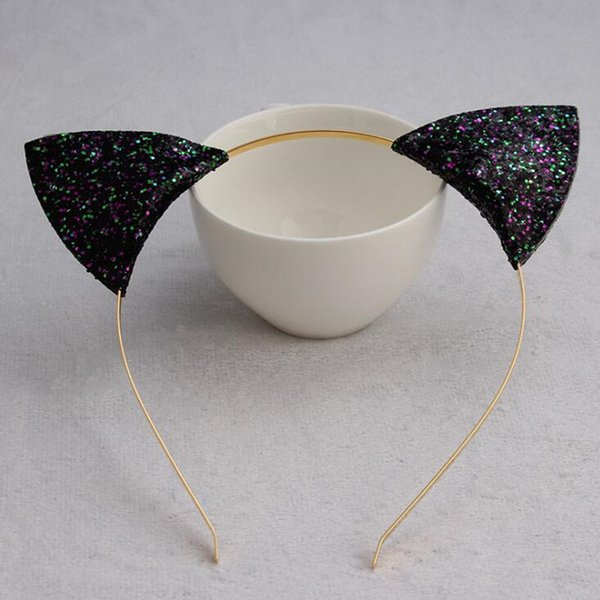Gold Powder Cat Animal Ears Headband Children Adults Sequins Hairband Birthday Party Hair Accessories