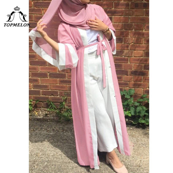 TOPMELON Dubai Open Abaya Pink Black Robes Abayas sueltos para mujer Vestido largo con rayas Hijab Kimono Thobe Dubai Kaftan