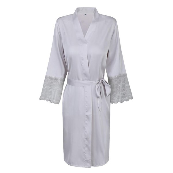 GREY Wedding Bride Bridesmaid Robes Satin Lady Sexy Kimono Bathrobe Lace Trim Sleepwear Casual Nightgown Home Dressing Gown