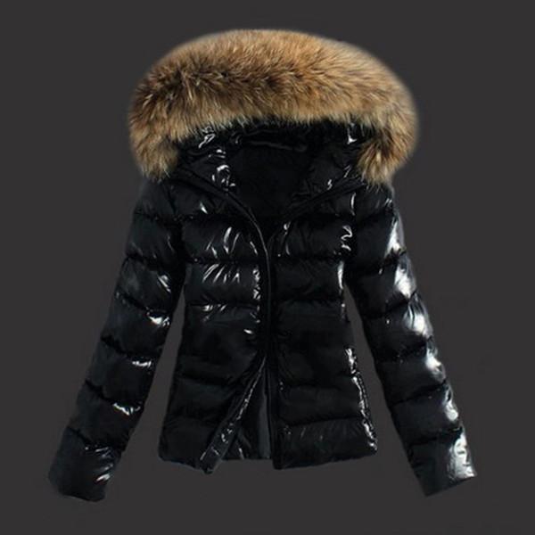 Fashion Plus Size Women Down Jacket Parka Winter Warm Black Fluffy Leather Faux Fur Collar Hooded Coat 3XL Slim Short Outerwear