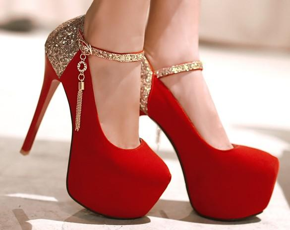 2018 Newest style sexy dress shoes women high heel shoes tassel sequins evening party shoes feiyue2026