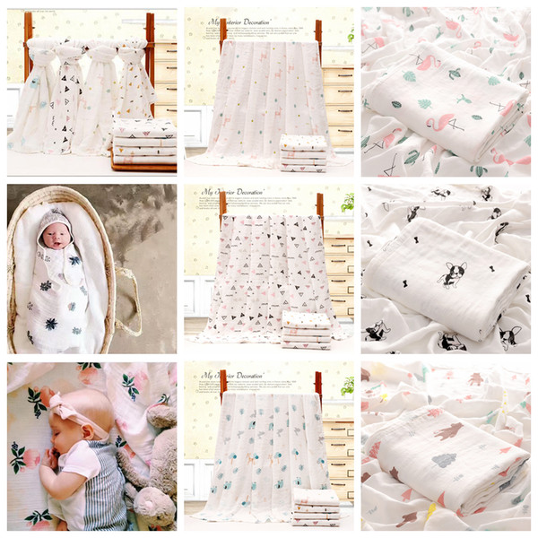 110*140cm Bamboo Cotton Baby Printed Blanket Muslin Swaddle Wrap Soft Newborn Blankets Bath Infant Wrap Stroller Cover Play Mat AAA817