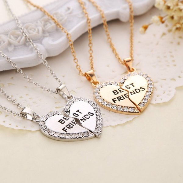 Hot Sale Best friend necklace pendant wholesale alloy friendship half a person selling exquisite necklace with rhinestone
