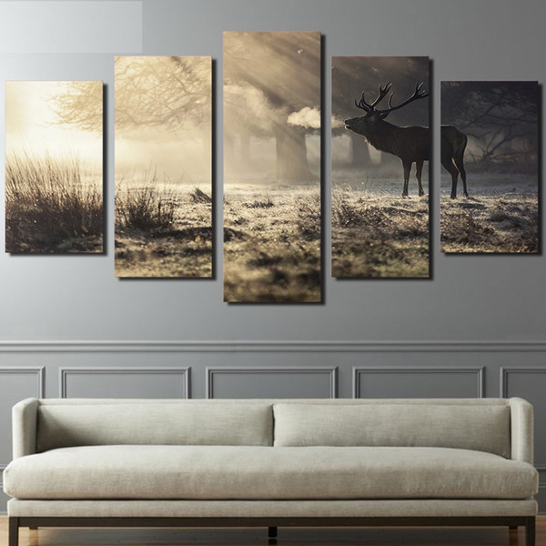 5 Pieces Canvas Painting for living room home decor Winter deer Posters HD Prints wall art picture