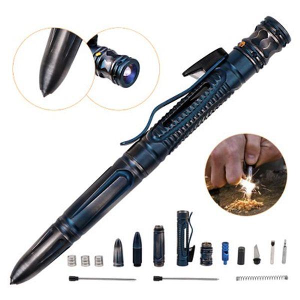 Autodefensa Tactical Pen Survival Herramienta de EDC para exteriores de acero inoxidable multifunción Interruptor de vidrio con linterna LED