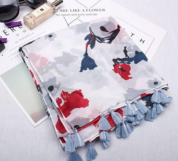 2018 New Style of Fashion Art Style Small Fresh Women's Cotton Scarf Lijiang Style Ethnic Ink Painting Flower Pattern Printing Shawls Visor