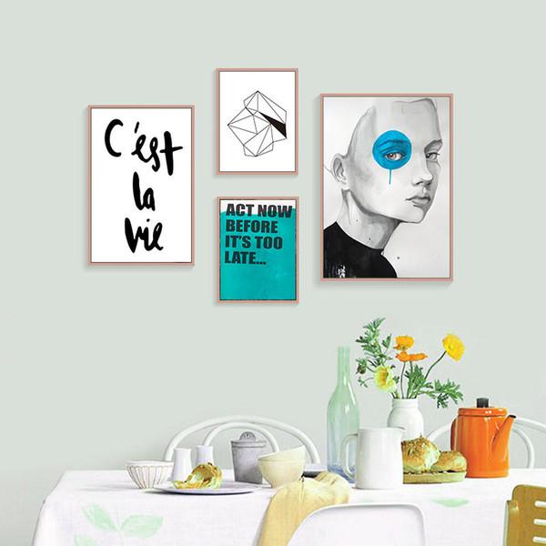 Acheter Cest La Vie Anglais Citation Mur Art Affiche Toile Peinture Pour Chambre Fille Imprimer Art Mur Photos Hd2515 De 9 16 Du Yyz123456