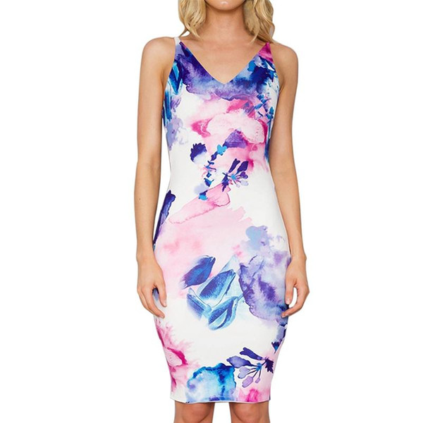 Women Summer Sexy V-neck Strap Sleeveless Floral Print Backless Elegant Business Party Casual Office Bodycon Pencil Work Dresses