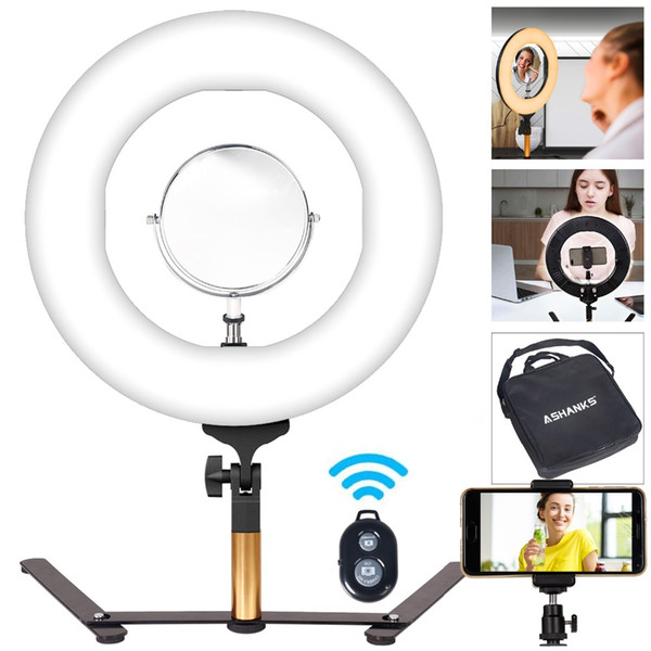 14'' BI-color LED Ring Selfie light with Stand Photography Makeup Lamp Dimming for Phone Photo Studio YouTube Video